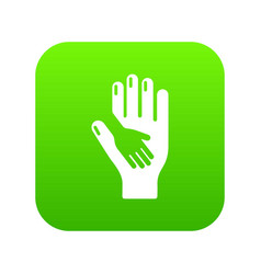 Caring hand icon green vector