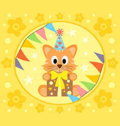 Cartoon background with cat vector