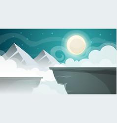 cartoon night landscape mountain moon vector image