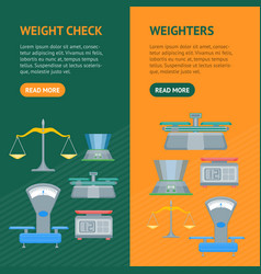 cartoon weight scales banner vecrtical set vector image vector image
