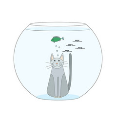 cat in the aquarium watches the fish the gray cat vector image