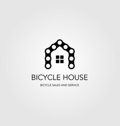 chain bicycle house bike logo design vector image