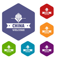 China welcome icons hexahedron vector