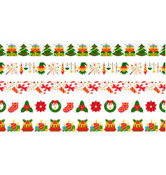 Christmas border seamless pattern red green vector