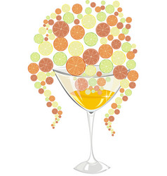 cocktail with orange lemon lime and grapefruit vector image
