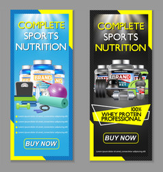 Complete sports nutrition banner set vector