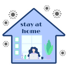 concept home office during quarantine happy vector image