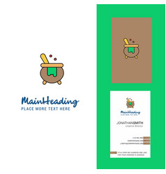 cooking pot creative logo and business card vector image