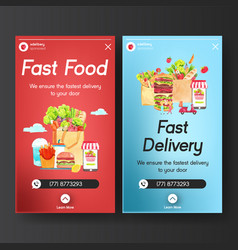 Delivery instagram design template with food vector