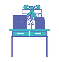 Desk table with drawers front view with gifts box vector