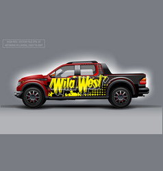 Editable template for wrap suv with wild west vector