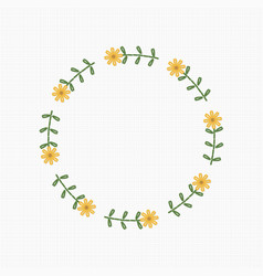 Embroidery wreath flower vector