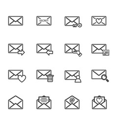 envelope letter and e-mail icon set electronics vector image