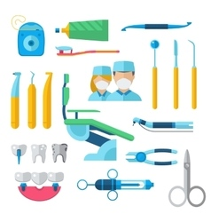 Flat dental instruments set dentist tools concept vector