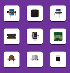 Flat icon appliance set of microprocessor vector