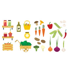 Flat set of organic food icons fresh vector