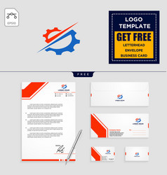 Gear and business chart logo template vector