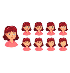 Girl emotions set female face doubt and horror vector