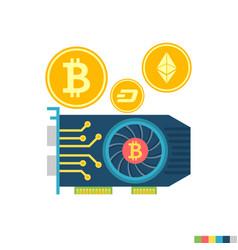 gpu mining flat icon vector image