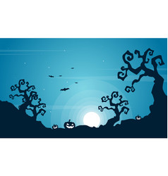 Halloween scary at night landscape vector
