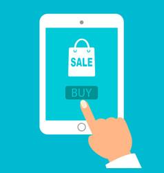 Hand held computer gadget online shopping flat vector