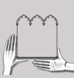Hands with a black classic gothic architectural vector