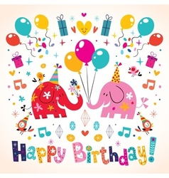 Happy Birthday cute elephants card vector
