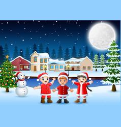 Happy kids in santa costume celebration a christma vector