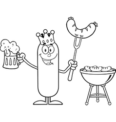 Happy King Sausage Cartoon vector image vector image