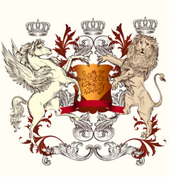 Heraldic design with shield winged horse and lion vector