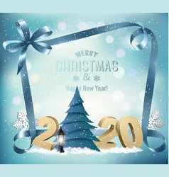 holiday background with 2020 and christmas tree vector image