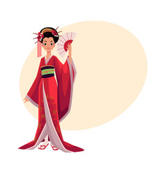 Japanese geisha in kimono holding fan symbol of vector