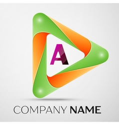 Letter A logo symbol in the colorful triangle on vector