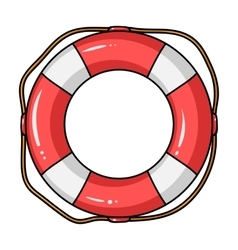 Lifebuoy icon in cartoon style isolated on white vector