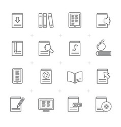 line book library and education icons vector image