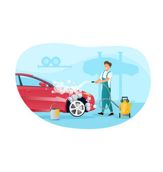 Male character in overall is washing a car vector