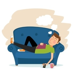 Man sleep on sofa vector