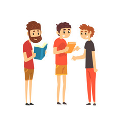 men standing with books people choosing books in vector image