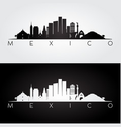Mexico skyline silhouette vector
