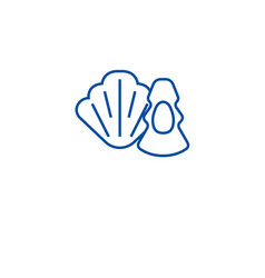 oysters scallops line icon concept oysters vector image