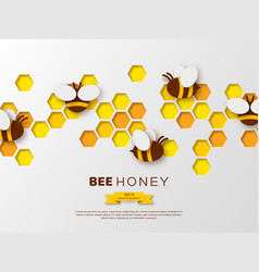 paper cut style bee with honeycombs template vector image
