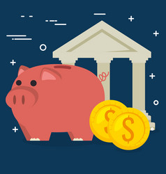 piggy savings with bank building vector image