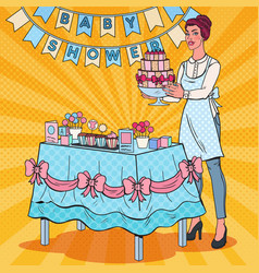 pop art baby shower decorator with cake vector image