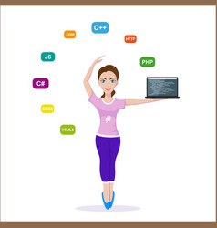 programmer girl character vector image