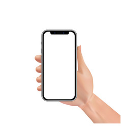 realistic hand holding smartphone with blank or vector image