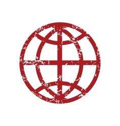 Red grunge world logo vector image