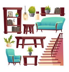 Rustic house hallway interior isolated stuff set vector