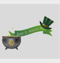 saint patrick day banner with cauldron and hat vector image