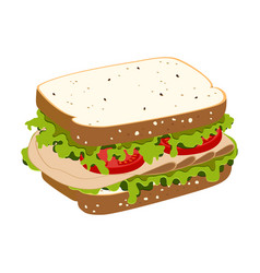 sandwich with ham vector image