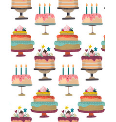 seamless pattern with birthday party vector image